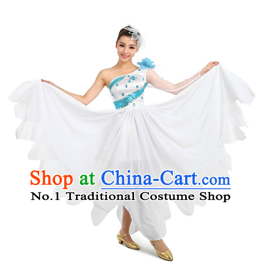 Chinese Stage Dancing Costumes Apparel Dance Stores Dance Gear Dance Attire and Hair Accessories Complete Set for Women