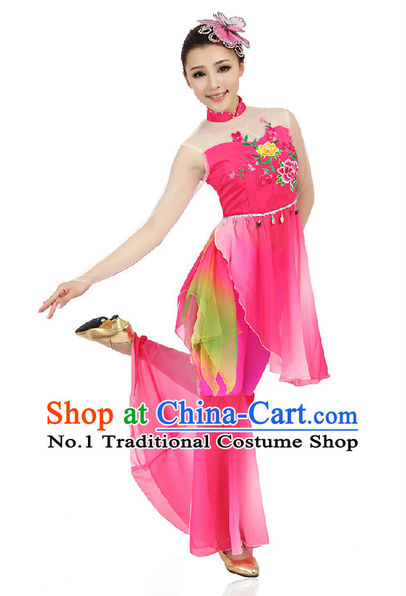 Chinese Classical Dancing Costumes Apparel Dance Stores Dance Gear Dance Attire and Hair Accessories Complete Set