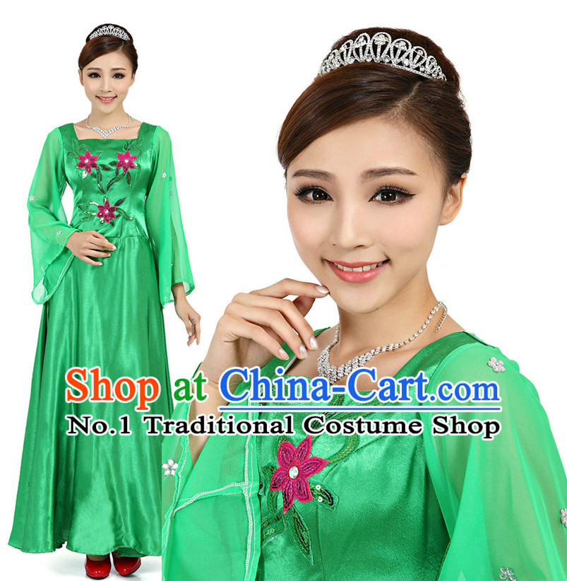 Asian Chinese Fan Dancing Costume Dance Attire and Hair Accessories Complete Set