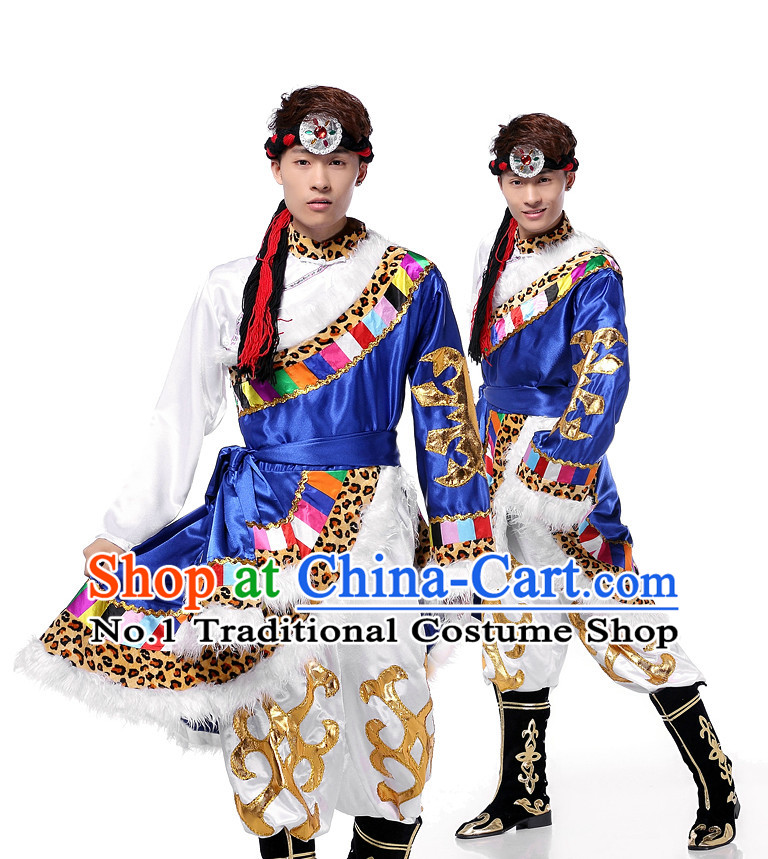 Asian Chinese Mongolian Dancing Costume Dance Attire and Hair Accessories Complete Set