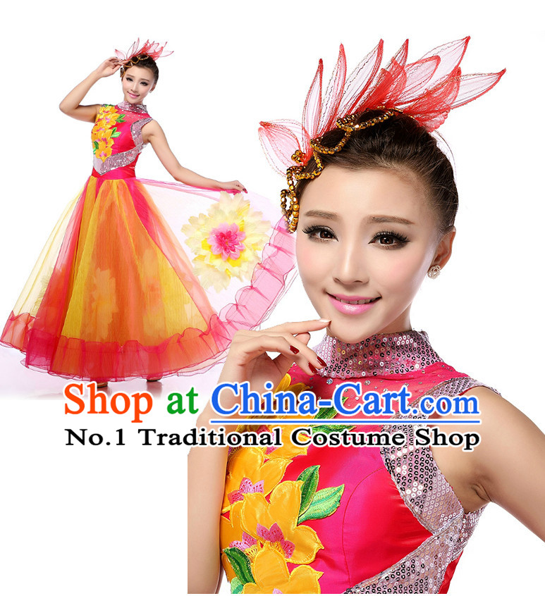 Chinese Stage Opening Dancing Costumes Apparel Dance Stores Dance Gear Dance Attire and Hair Accessories Full Set