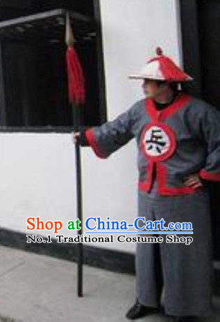 Ancient Chinese Song Dynasty Solider Costumes and Hat Complete Set