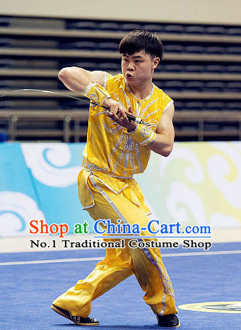 Top Yellow Martial Arts Uniforms Supplies Kung Fu Southern Sword Competition Uniforms for Men