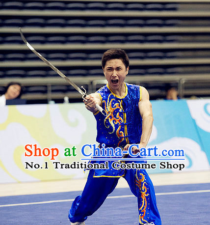 Top Short Sleeves Martial Arts Uniforms Supplies Kung Fu Southern Swords Broadswords Competition Uniform for Men