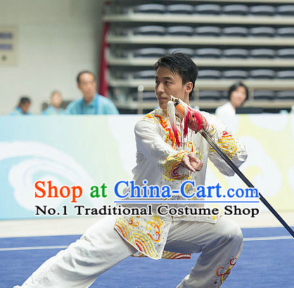 Top Dragon Embroidery Tai Chi Sword Costumes Taijiquan Costume Aikido Chikung Tichi Swords Uniforms Quigong Uniform Thaichi Martial Arts Qi Gong Combat Clothing Competition Suits