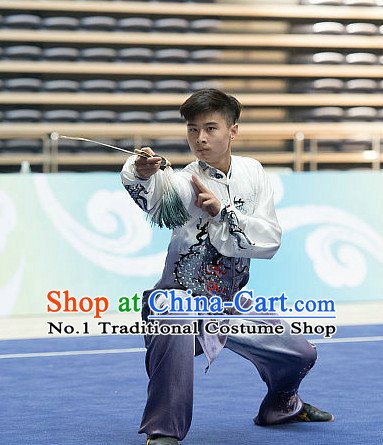 Top Embroidered Kimoni Taici Gradient Tai Chi Sword Championship Costumes Taijiquan Costume Aikido Chikung Tichi Swords Uniforms Quigong Uniform Thaichi Martial Arts Qi Gong Combat Clothing Competition Uniforms