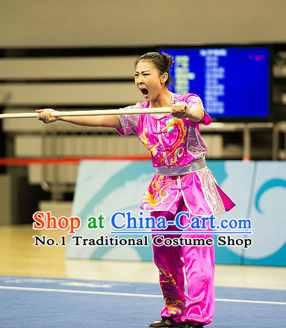 Top Shiny Kung Fu Stick Competition Uniforms Kungfu Training Suit Kung Fu Clothing Kung Fu Movies Costumes Wing Chun Costume Shaolin Martial Arts Clothes for Women