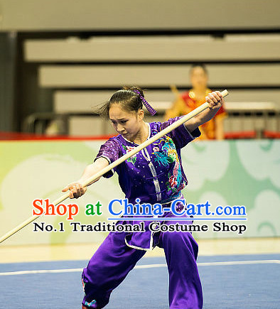 Top Purple Kung Fu Stick Competition Uniforms Kungfu Training Suit Kung Fu Clothing Kung Fu Movies Costumes Wing Chun Costume Shaolin Martial Arts Clothes for Women