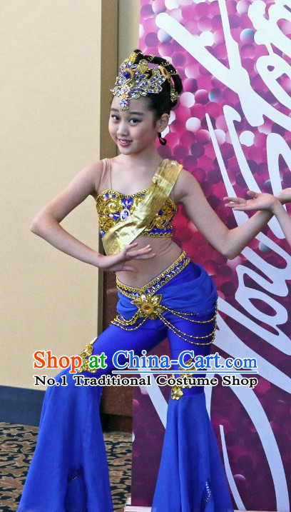 Professional Chinese Stage Performance Flying Angel Fei Tian Dance Costumes and Headwear Complete Set