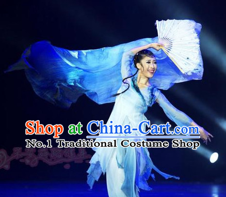 Professional Chinese Stage Performance Classical Dance Costumes and Headwear Complete Set for Women