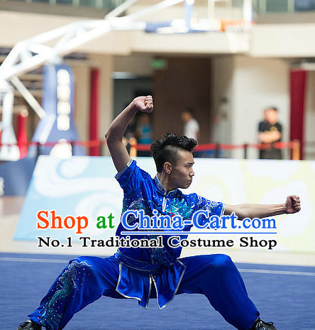 Top Blue Embroidered Dragon Chinese Southern Fist Kung Fu Uniform Martial Arts Uniforms Kungfu Suits Competition Costumes Complete Set
