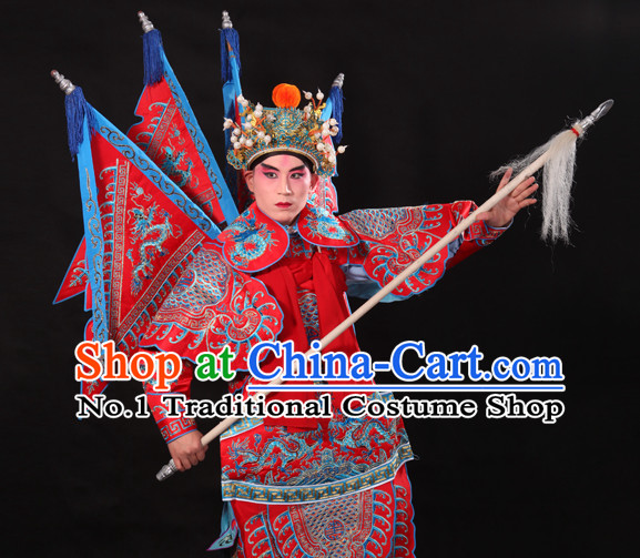 Chinese Beijing Opera Wu Sheng Fighting or Military Character Armor Costumes Flags and Helmet Full Set for Men