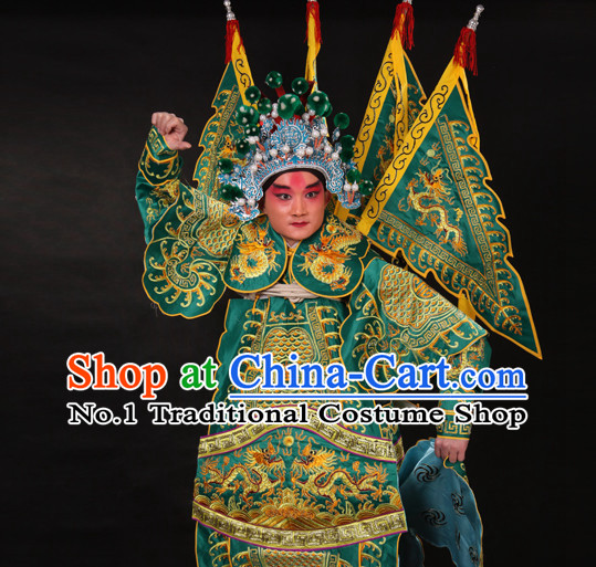 Chinese Green Beijing Opera Wu Sheng Fighting or Military Character Armor Costumes Flags and Helmet Full Set for Men