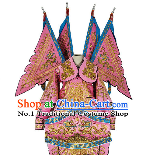 Chinese Pink Theatrical Costume Beijing Opera Costumes Peking Opera Wu Sheng Embroidered Armor Costumes and Flags for Men
