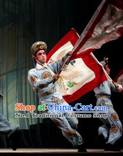 Chinese Theatrical Costume Beijing Opera Costumes Peking Opera Wu Sheng Warrior Costumes and Hat for Men