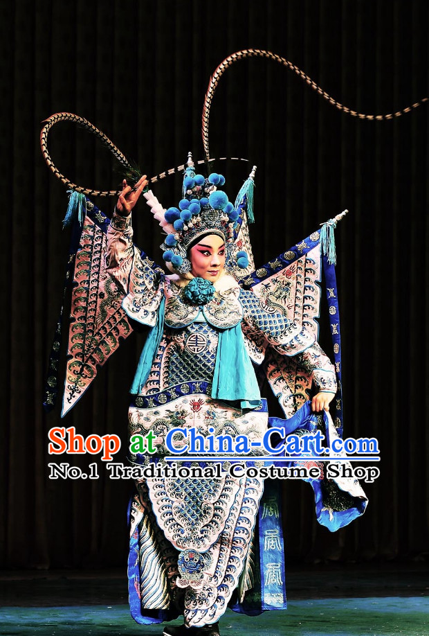 Asian Chinese Beijing Opera Peking Opera Mu Guiying Female Superhero Costumes and Helmet Complete Set