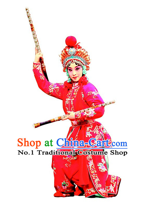 Asian Chinese Beijing Opera Peking Opera Wu Tan Female Superhero Costumes and Helmet Complete Set