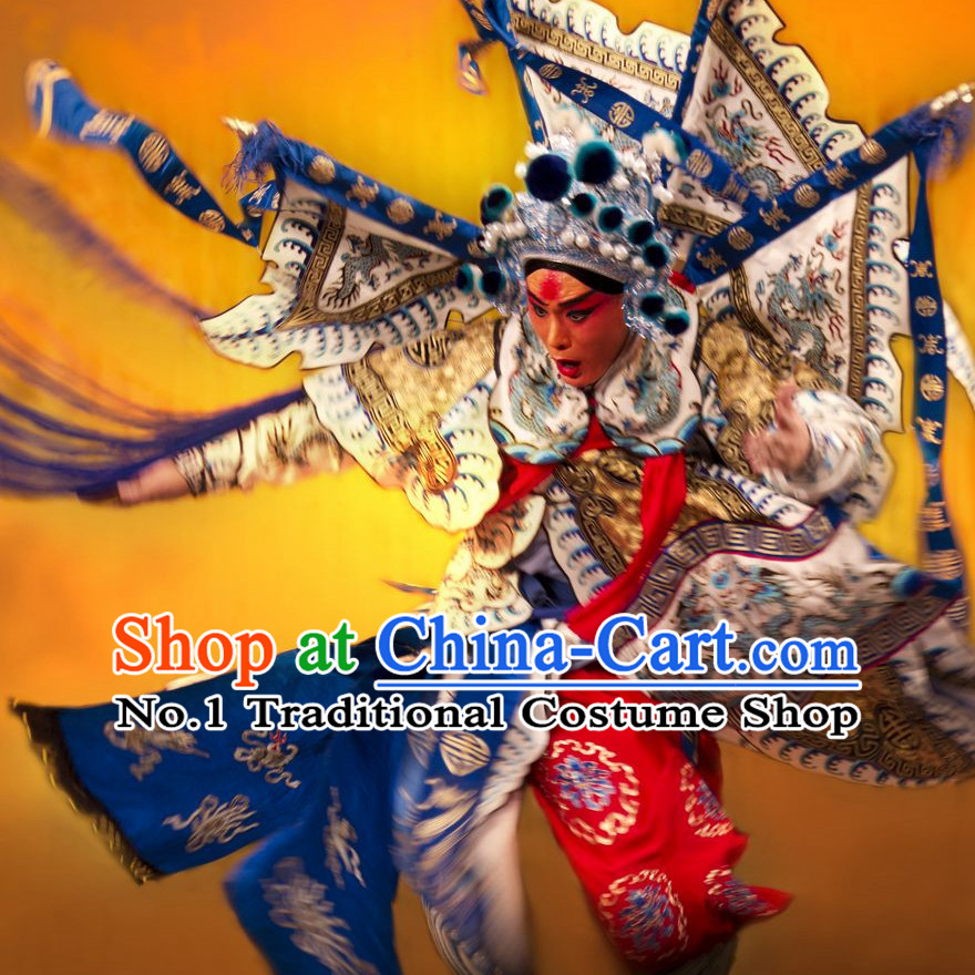 Chinese Ancient Beijing Opera Peking Opera Wu Sheng Costumes and Helmet Complete Set for Men