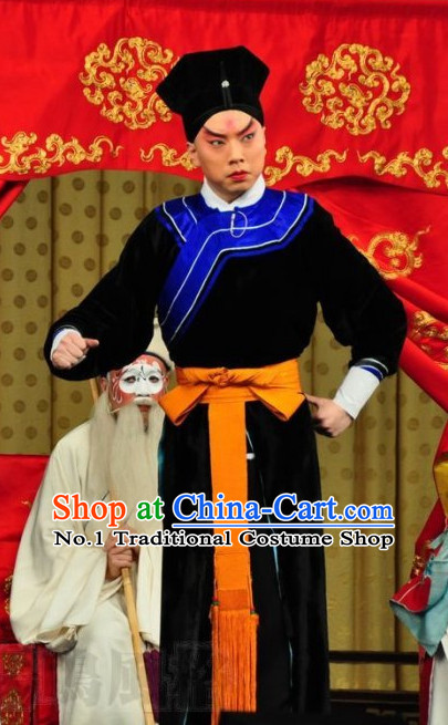 Chinese Ancient Beijing Opera Peking Opera Policeman Long Robe and Hat Complete Set for Men