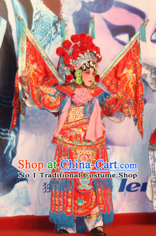 Chinese Ancient Beijing Opera Peking Opera Hua Tan Costume and Phoenix Coronet Complete Set for Kids