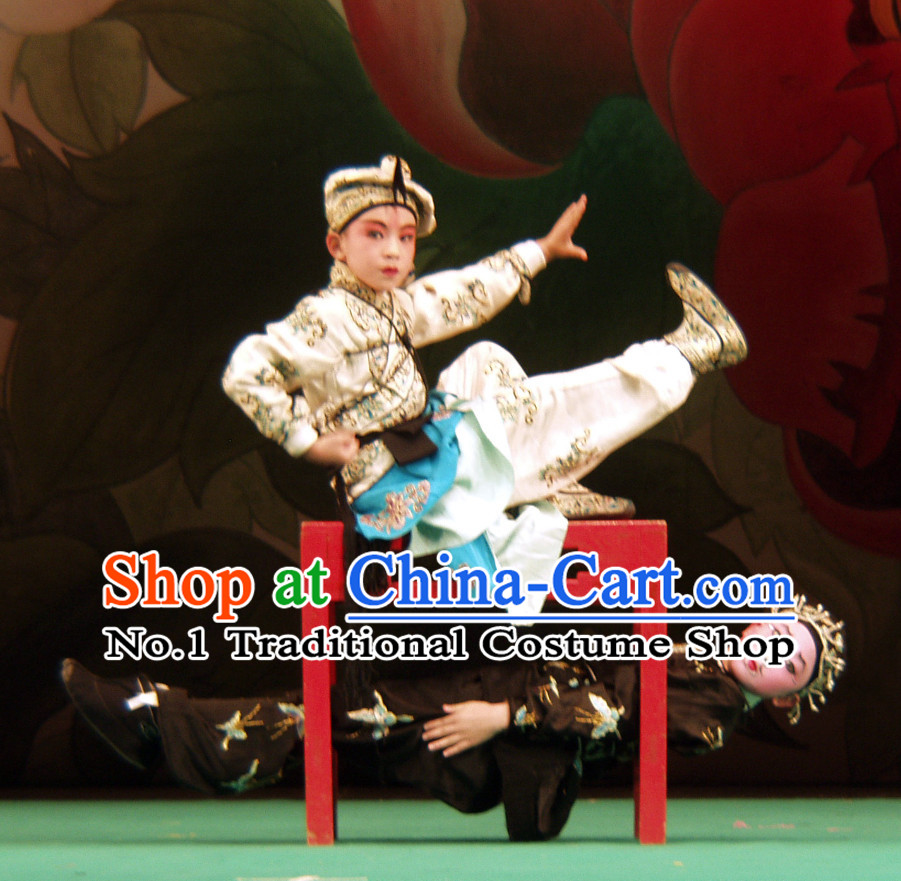 Chinese Peking Opera Beijing Opera Wu Sheng Costumes and Hat Complete Set for Kids