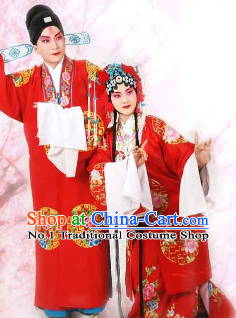 Chinese Peking Opera Beijing Opera Husband and Wife Wedding Costumes and Headwear 2 Sets