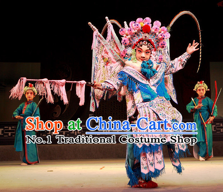 Chinese Beijing Opera Peking Opera Wu Tan Wu Dan Armor Fighting Costumes and Hair Accessories Complete Set for Kids