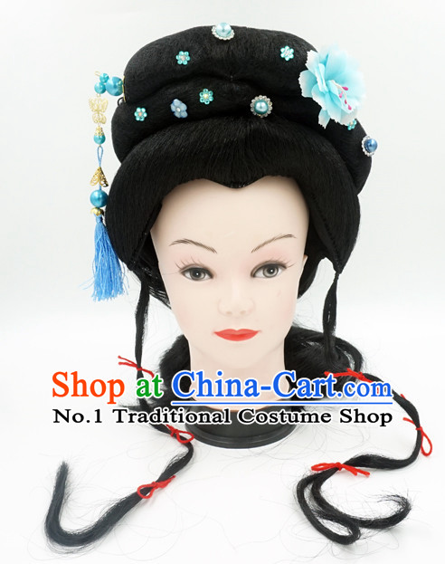 Chinese Traditional Opera Long Wigs and Hair Accessories for Women