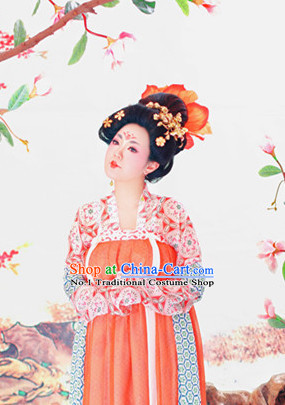 Chinese Tang Costume and Headpieces Complete Set for Women