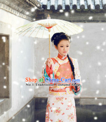 Chinese Plus Size Folk Dress and Hair Accessories Complete Set for Ladies