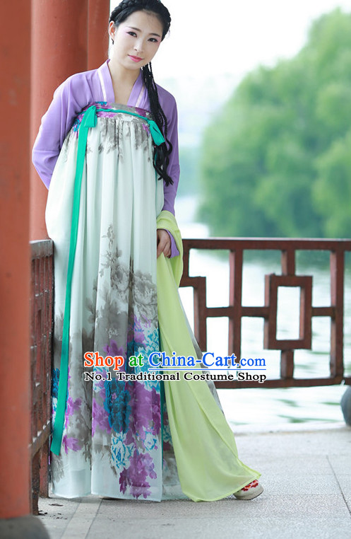 Chinese Traditional Plus Size Dresses Summer Dresses and Headpieces Complete Set for Women