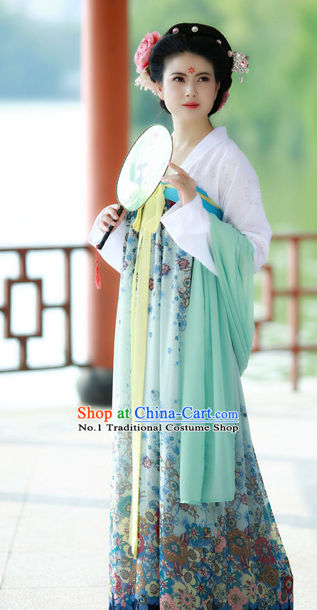 Chinese Tang Dynasty Traditional Plus Size Dress Summer Dresses and Headpieces Complete Set