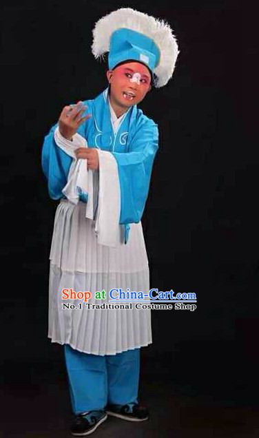 Chinese Traditional Beijing Opera Clown Costumes and Hat Complete Set for Men