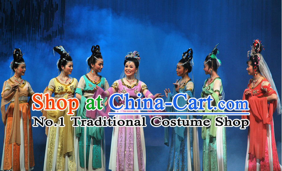 Chinese Tian XIan Pei Goddness Marriage Beijing Opera Seven Fairy Costumes
