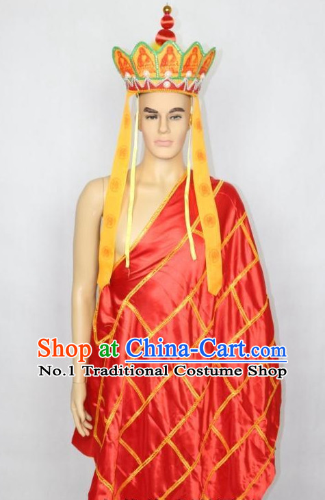 Asian Fashion Chinese Tradiitonal Dress Monk Perofrmance Costumes and Hat