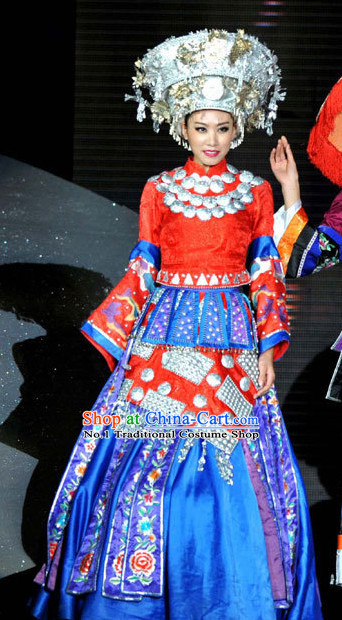 Tradiitonal Chinese Miao Ethnic National Costumes and Hat Complete Set for Women