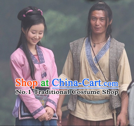 Chinese Ancient Husband and Wife Costumes 2 Complete Sets