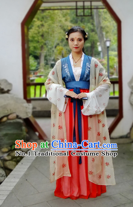 Chinese Ancient Tang Dynasty Hanfu Clothing Complete Set