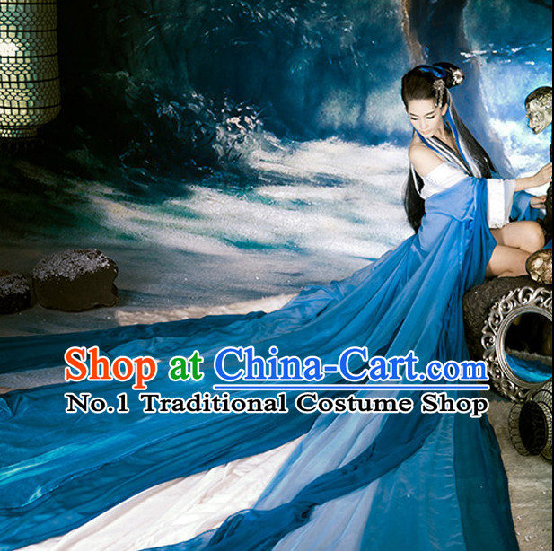 Deep Blue and White Chinese Ancient Beauty Costumes Complete Set with Long Tail