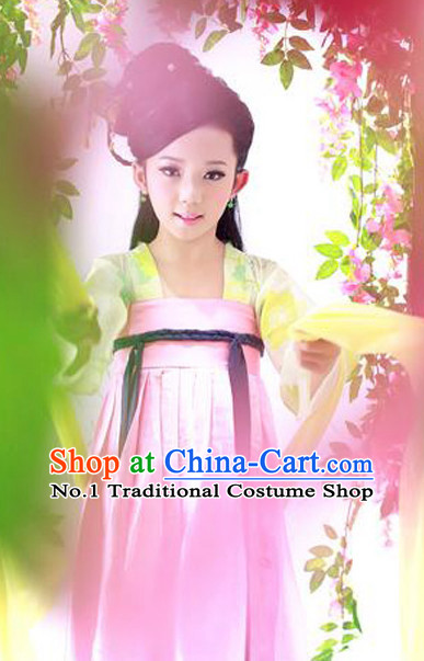 Pink Chinese Ancient Tang Dynasty Kids Costumes and Headpieces Complete Set