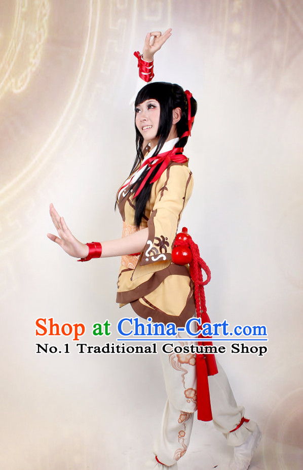 Asia Fashion Top Chinese Superhero Swordswoman Cosplay Halloween Costumes Complete Set