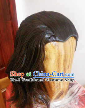 Chinese Ancient Style Men's Long Black Wigs and Hair Jewelry