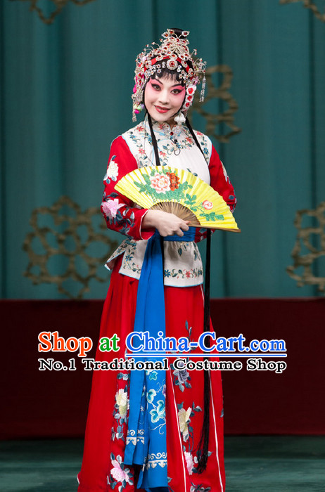 Chinese Traditional Beijing Opera Costumes and Headpieces Complete Set