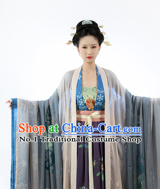Chinese Ancient Tang Dynasty Clothes and Hair Accessories Complete Set for Women