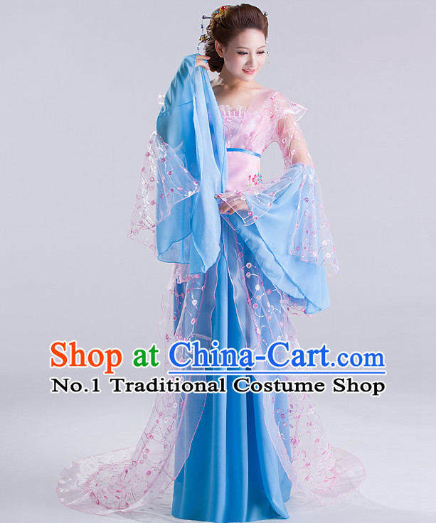Chinese Ancient Fairy Costumes and Hair Jewelry Complete Set