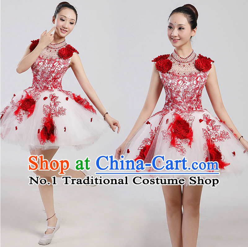 Chinese Folk Flower Dancing Costume and Headwear Complete Set for Women