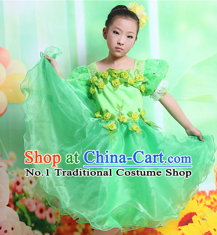 Chinese Flower Dancing Costume and Headwear Complete Set for Kids