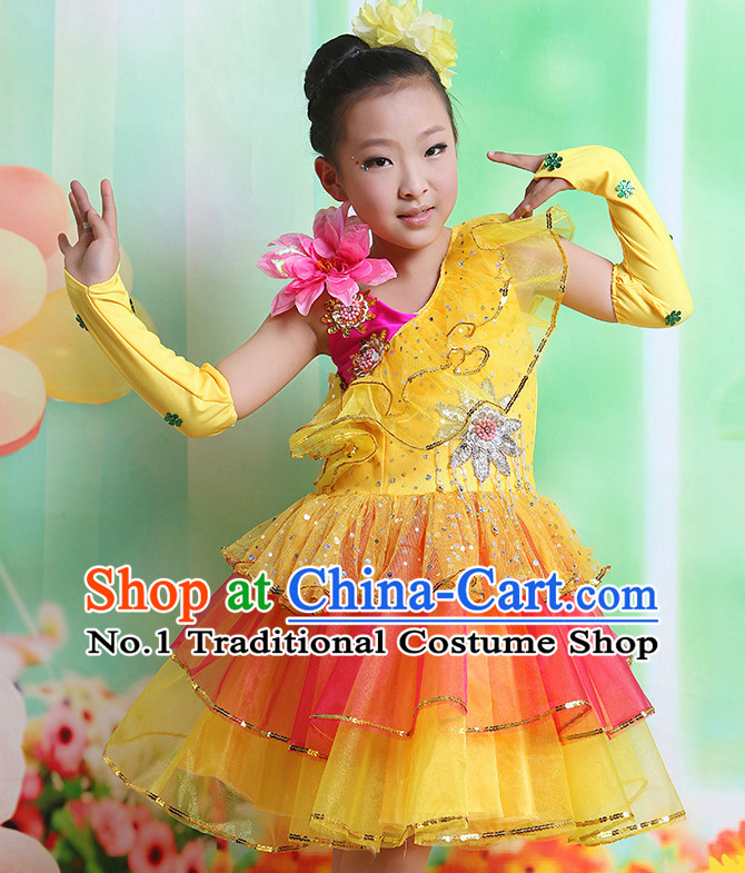Chinese Fan Dancing Costume and Headwear Complete Set for Kids