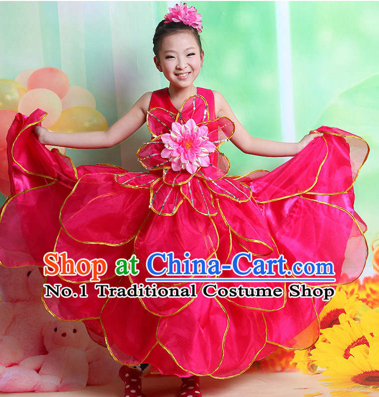 Chinese Flower Dancing Costume and Hair Accessory Complete Set for Kids