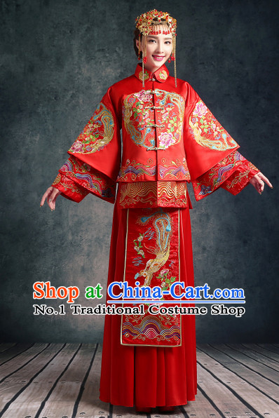 Chinese Traditional Wedding Ceremonial Outfits and Phoenix Crown Complete Set for Women